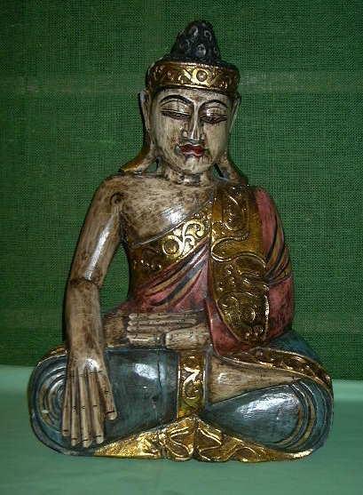 Large Wood painted Sitting Buddha