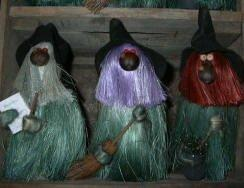 Woodland Witches with brooms, caldron and wands