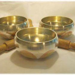 Three Metal Tibetan Singing Bowls
