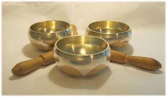 Three Metal Tibetan Singing Bowls