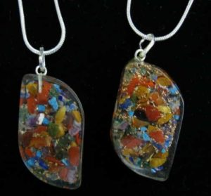 Basic Orgone Pendant, Resin pendant with gemstones and copper and 18 inch snake chain