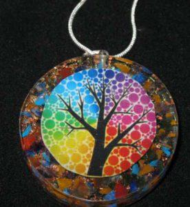 Tree of Life Orgone Pendant. Resin pendant with gemstones and copper and 18 inch snake chain