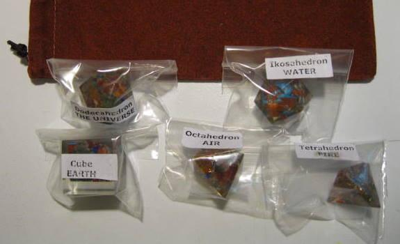 Orgonite 5 Platonic Solid Set with pouch