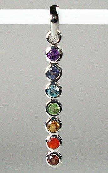 Chakra gemstone sterling silver jewelry balances body mind basic chakra pendant sterling silver with gemstones aloadofball Image collections