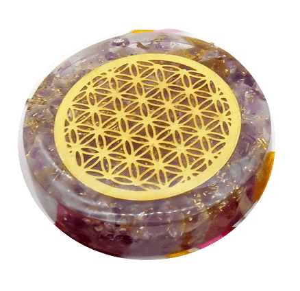 Amethyst and Copper Orgonite Disc