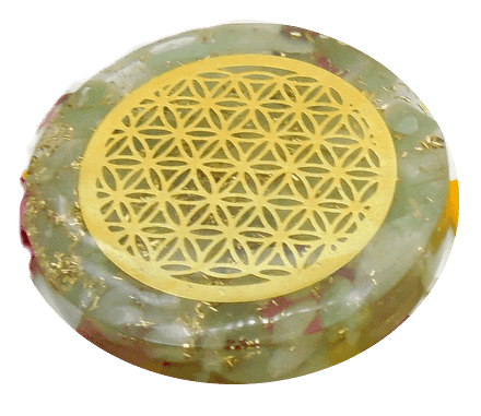 Jade Quartz and Copper Orgonite Disc