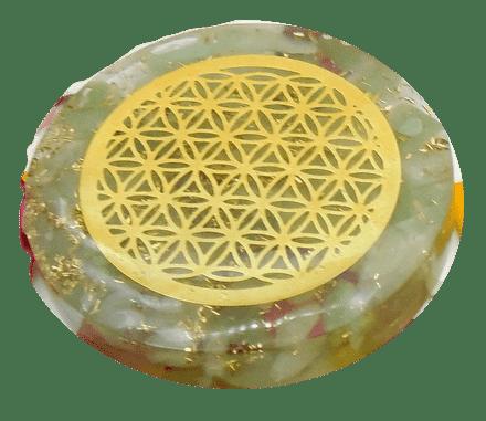 Jade Quartz and Copper Orgonite Disc