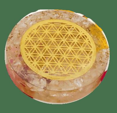 Rose Quartz and Copper Orgonite Pocket Disc