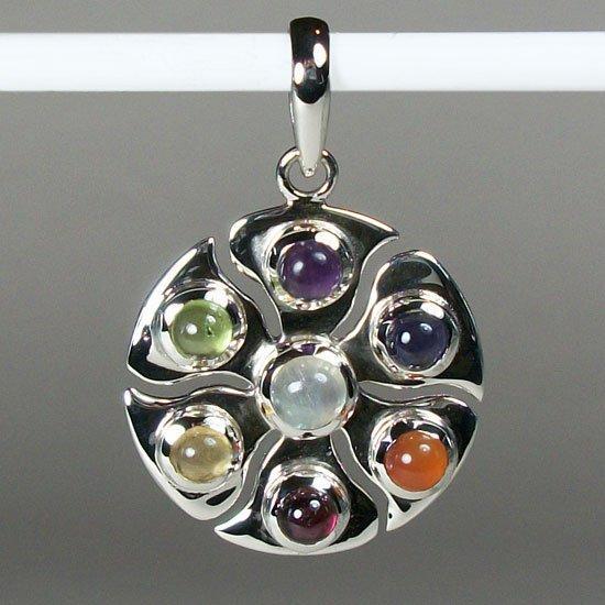 Eternal Chakra Sterling Silver and Gemstone Pendant