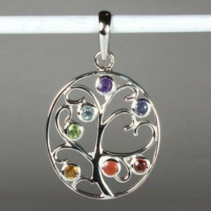 Chakra Tree of Life sterling and gemstone pendant