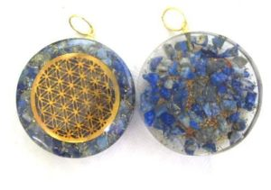 Lapis Orgonite Pocket Disc Pendant