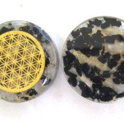 Black tourmaline and Selenite Orgonite Pocket disc