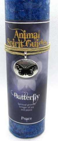 Butterfly scented candle with pewter pendant