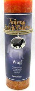 Wolf candle with pewter pendant