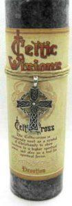 Scented Celtic Cross candle with pewter pendant