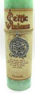 Scented Celtic Green Man Candle with pewter pendant