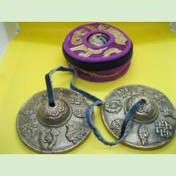 8 auspicious symbols tingshas with case