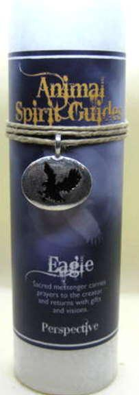 Scented candle with eagle pewter pendant