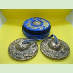 Dragon tingshas with carrying case