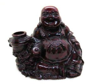 Red Resin Buddha with Money Pot