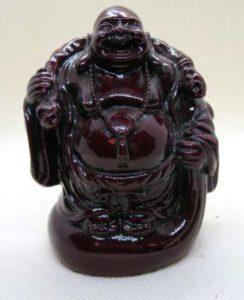 Red resin Buddha with Money Bag