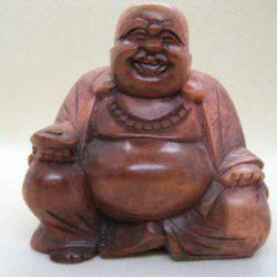 Carved Wood Happy Buddha