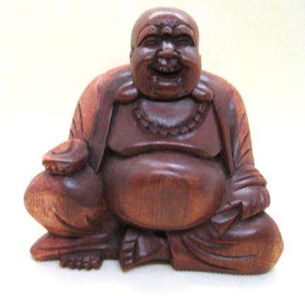 Carved wood Happy Buddha