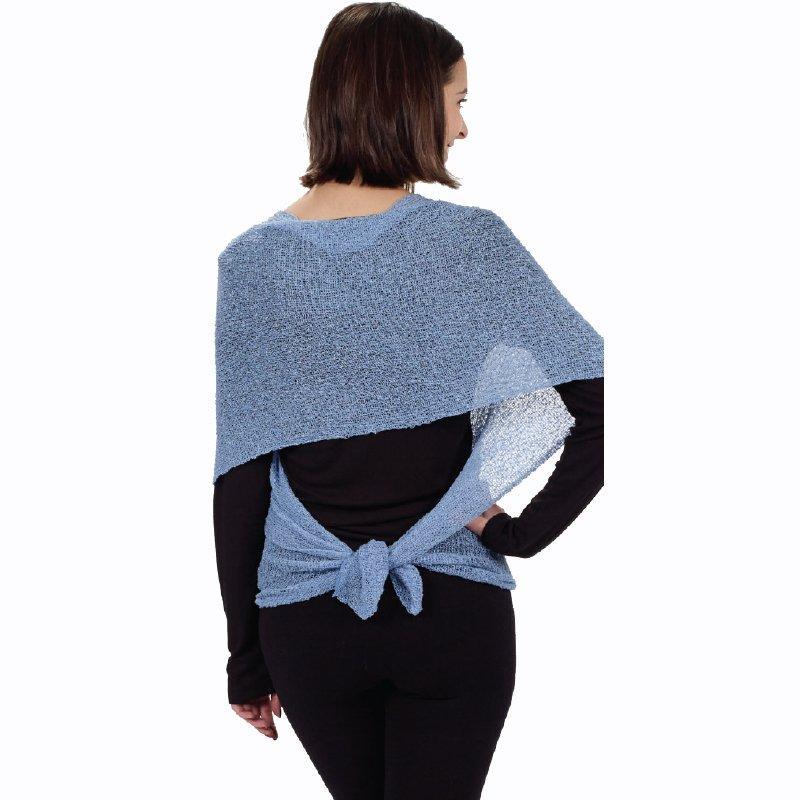 Blue 3 way shawl back tied
