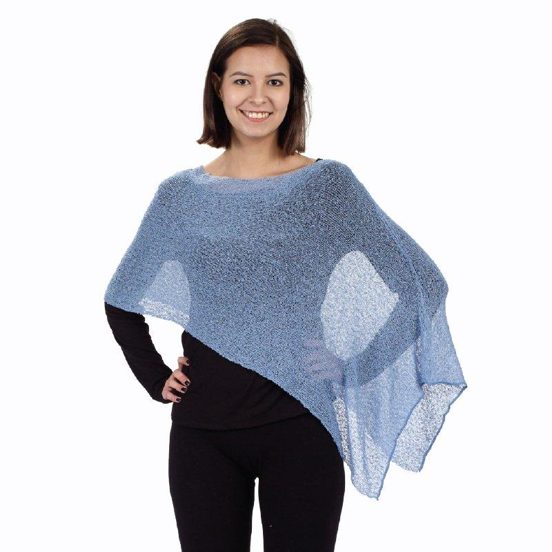 Blue 3 Way Shawl draped on diagonal