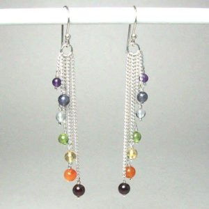 Sterling Silvler cascading chakra bead earrings