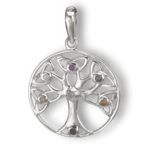 Sterling Silver Celtic Chakra Tree of Life Pendant