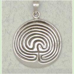 7 circuit cretan labyrinth pendant - sterling silver