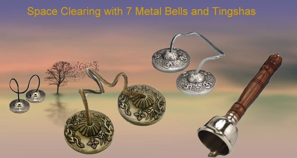 7 metal Tingshas, bells and chimes