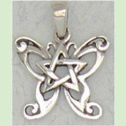 Butterfly pentacle pendant - sterling silver