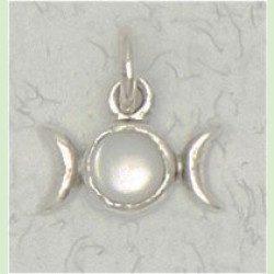 Triple Moon sterling silver pendant
