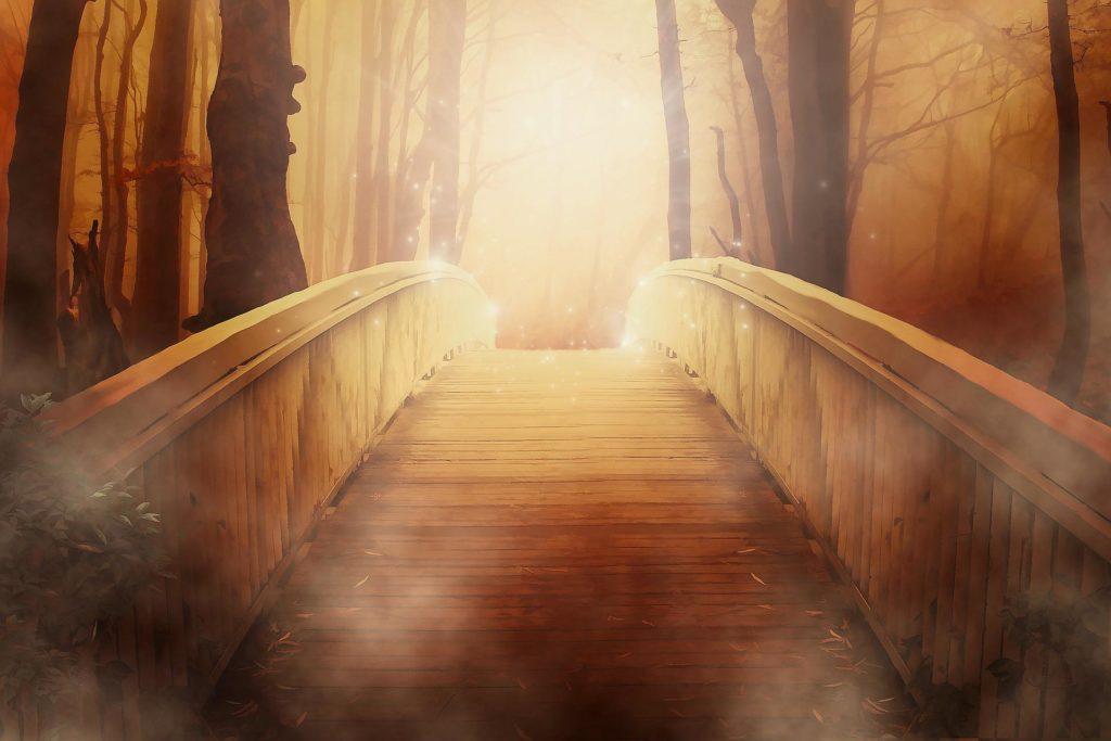 wood bridge into the light