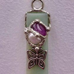 Faith gemstone blade pendant